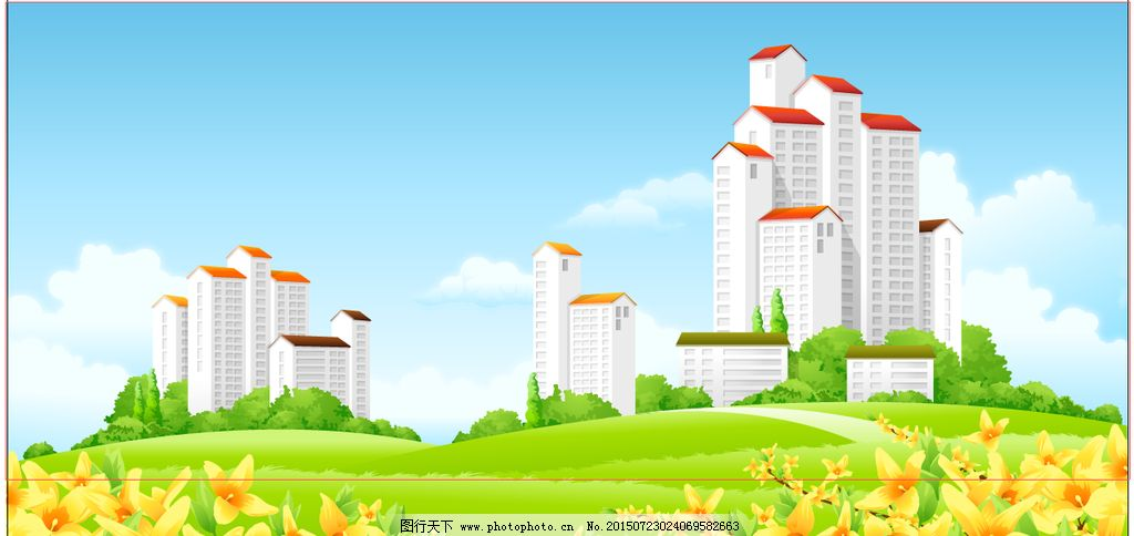 城市风光 高楼 大厦 矢量图 卡通 蓝天白云 草原 花朵 风景 设计 自然
