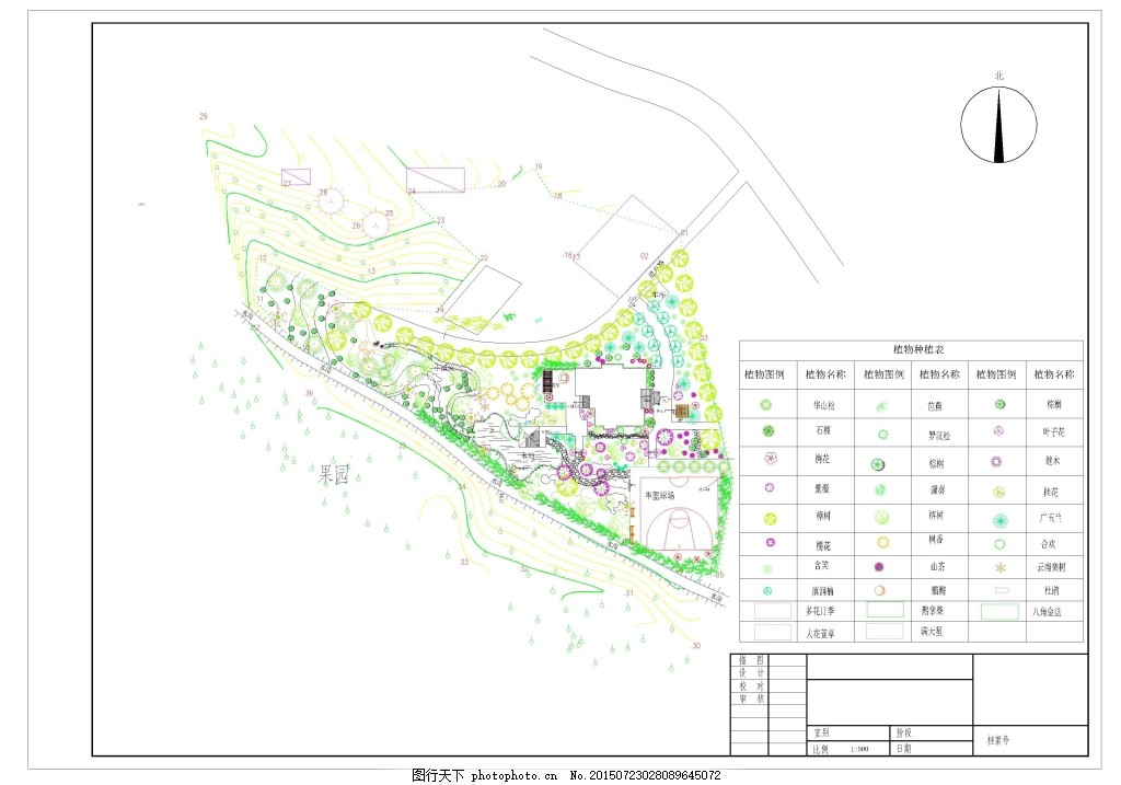 别墅景观 庭院植物配置 庭院绿化设计 庭院种植 植物设计 dwg 白色