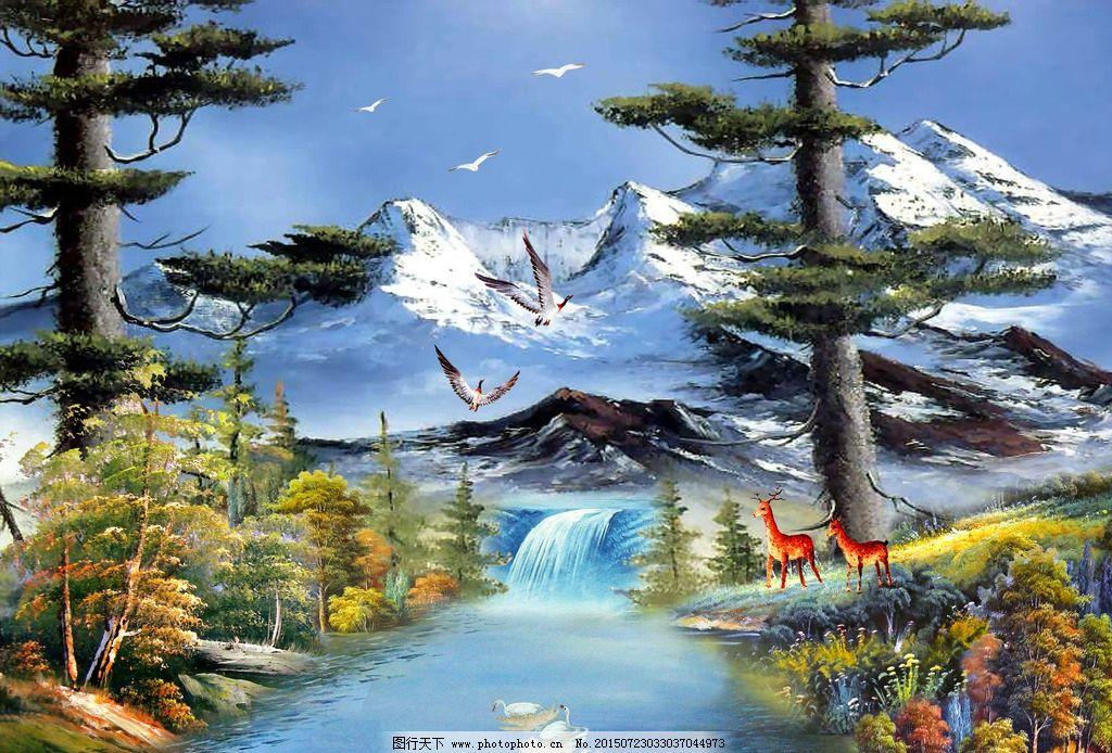 碧水 大树 风景画 风景油画 河流 红叶树 湖泊 流水 瀑布 山水画 油画