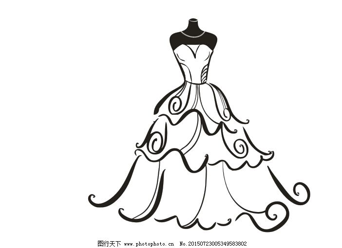 婚纱手绘图片素材