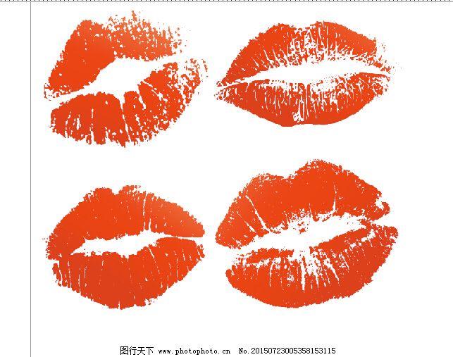 焰红唇手绘抽象装饰画