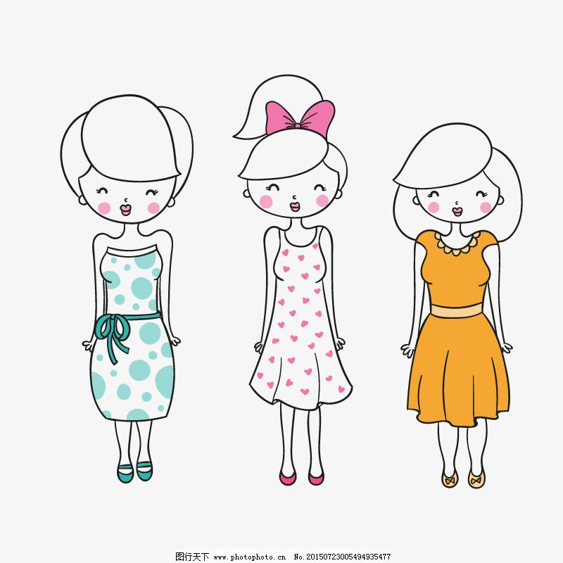 手工绘制的可爱女人