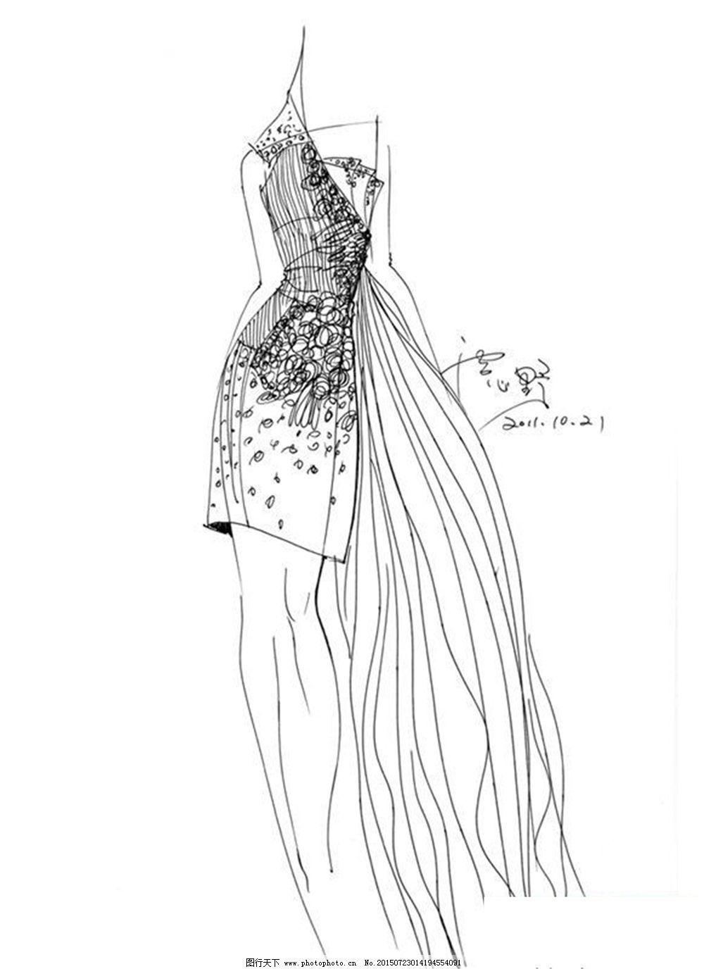 服装画手绘技法简单-简单服装设计图裙子|服装画手绘技法款式图|服装