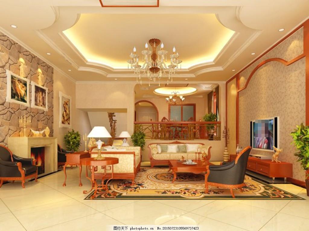 别墅欧式客厅模型 3d模型 电视机 欧式客厅 沙发茶几 欧式客厅 3d模型