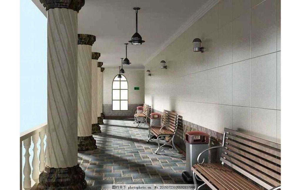 走廊3dmax模型免费下载 壁灯 吊 罗马柱 欧式 风格 室内设计