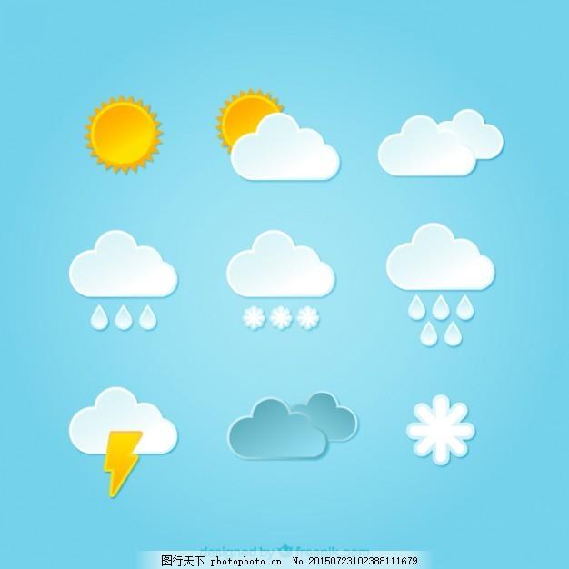 天气图标 云 太阳 雪雨 风暴 晴天 多云 下雨 下雪 青色