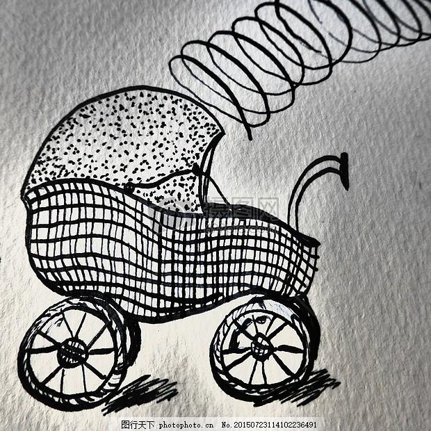 简洁的婴儿车素材 手绘素描 出生 地图 祝贺 洗礼 绘图 图像背景