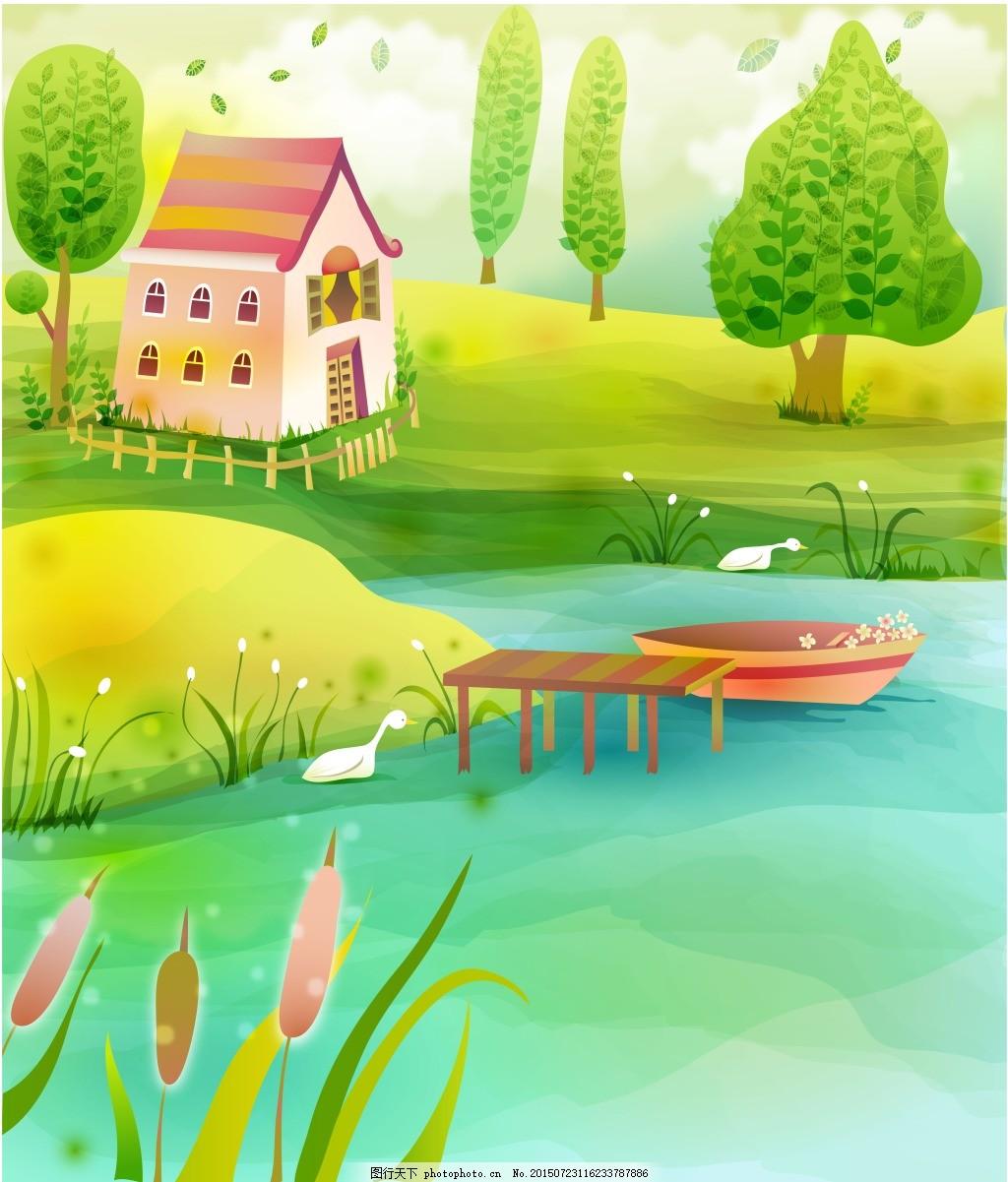 河边小房子 卡通画 可爱图片 小河     绿色 jpg