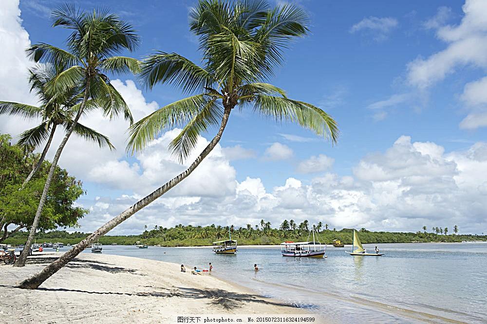 沙滩海边风景 椰树 蓝天白云 大海 海洋海边 自然景观 图片素材