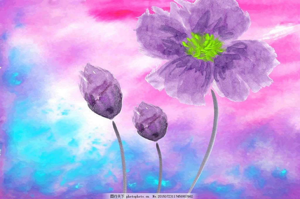 手绘花 手绘花朵 炫彩背景 粉红色花 百合 紫色