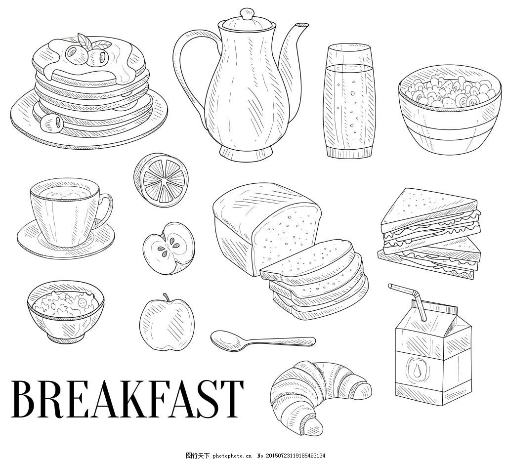 时尚手绘美味早餐插画 果汁 黑白 面包 牛角包 牛奶 水果