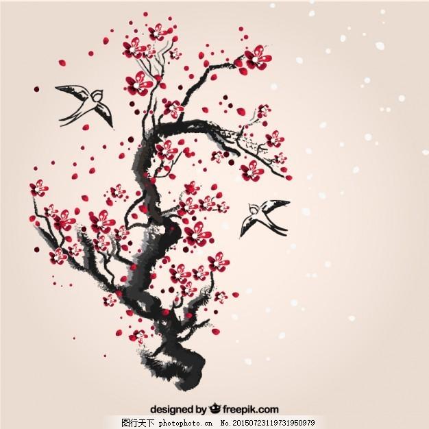 手绘樱桃树 花画日 樱花 墨枝 文化 树枝 燕子 白色