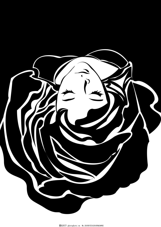 黑白装饰画黑玫瑰与人 人像 头发 黑色图片