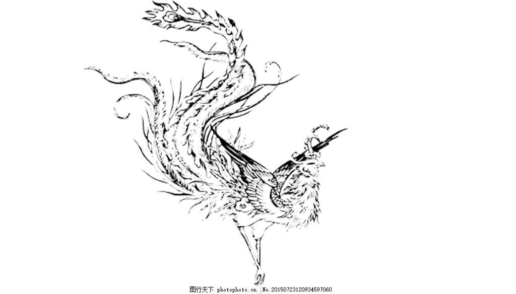 凤凰 古风 线条 水墨 psd 白色