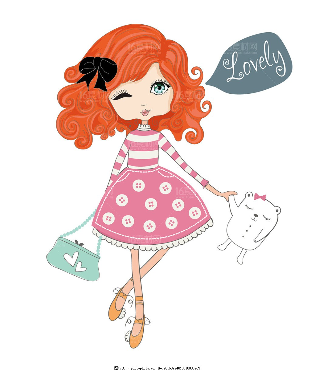 绘画人物 卡通时尚女性穿着打扮时尚人物可爱女生女孩子化妆卡通美女