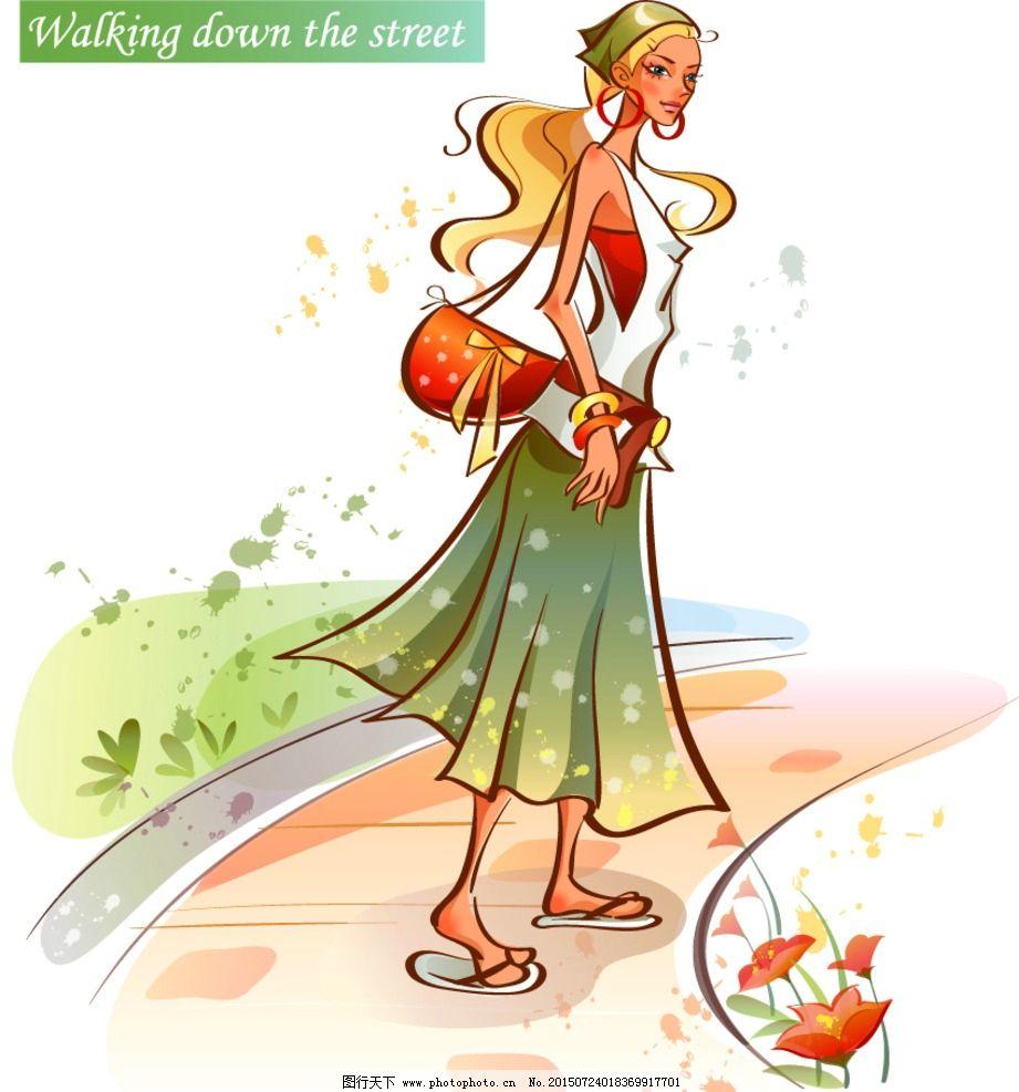 走路的漂亮女孩图片_动漫人物