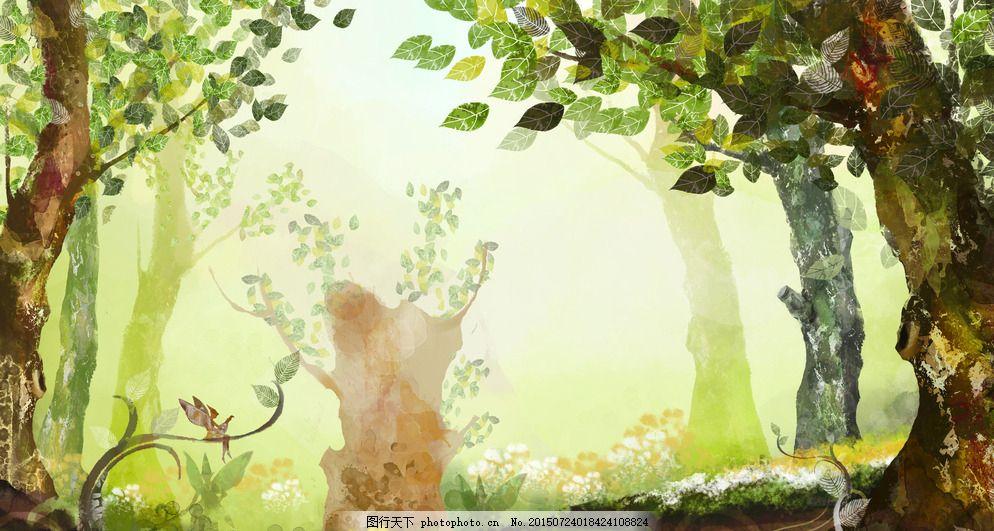 手绘森林插画图片