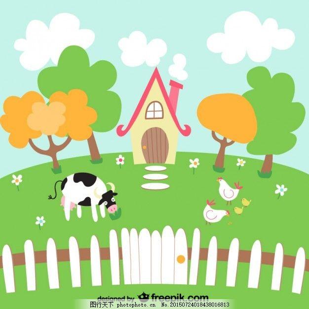 一头奶牛的可爱农场 房子 动物 卡通 牛 鸡 可爱 树木 风景 可爱的