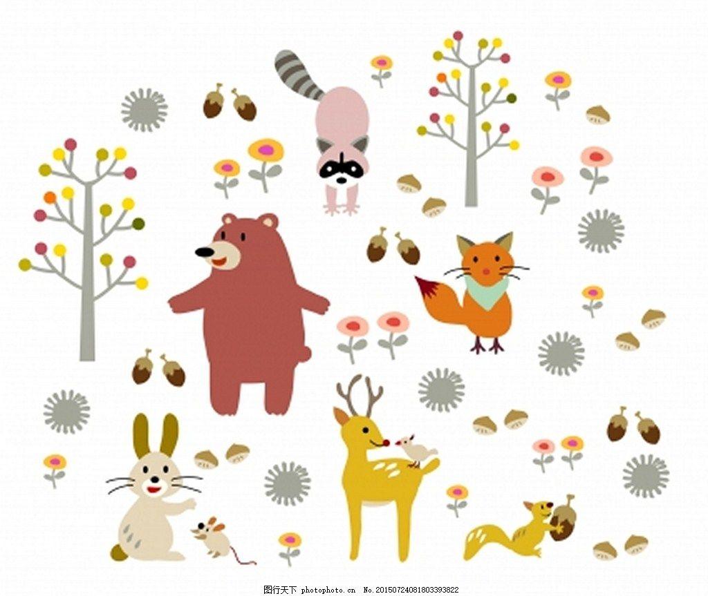 可爱的小动物 卡通 树 小白兔 熊 白色