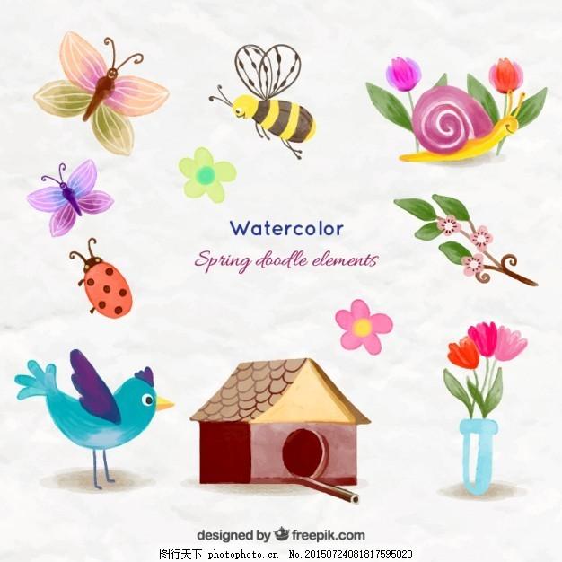 水彩画可爱的动物和春天的东西 花 水彩 房子 鸟 蝴蝶 手 自然 春天