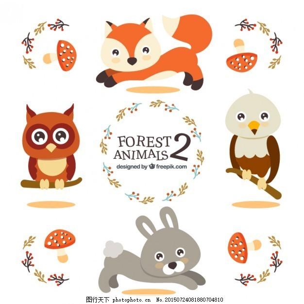 猫头鹰 森林 可爱 鹰 眼睛 兔子 图画 狐狸 有趣 聪明 可爱的动物 ai