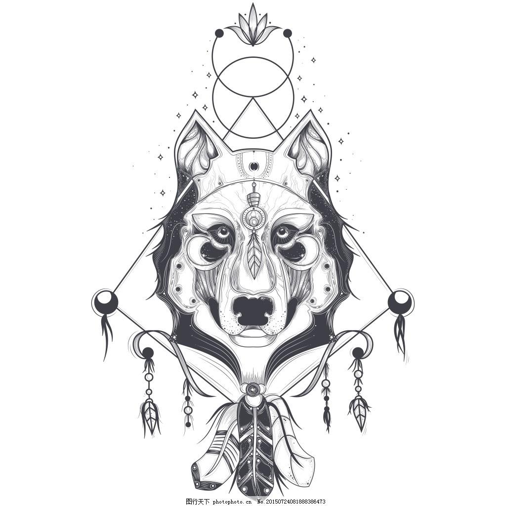 狼头几何图形纹身素材