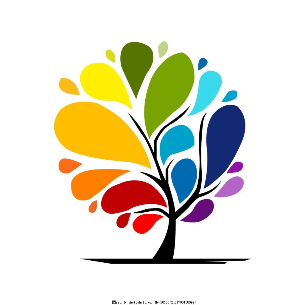 树logo 标签 彩色卡通创意树木素材