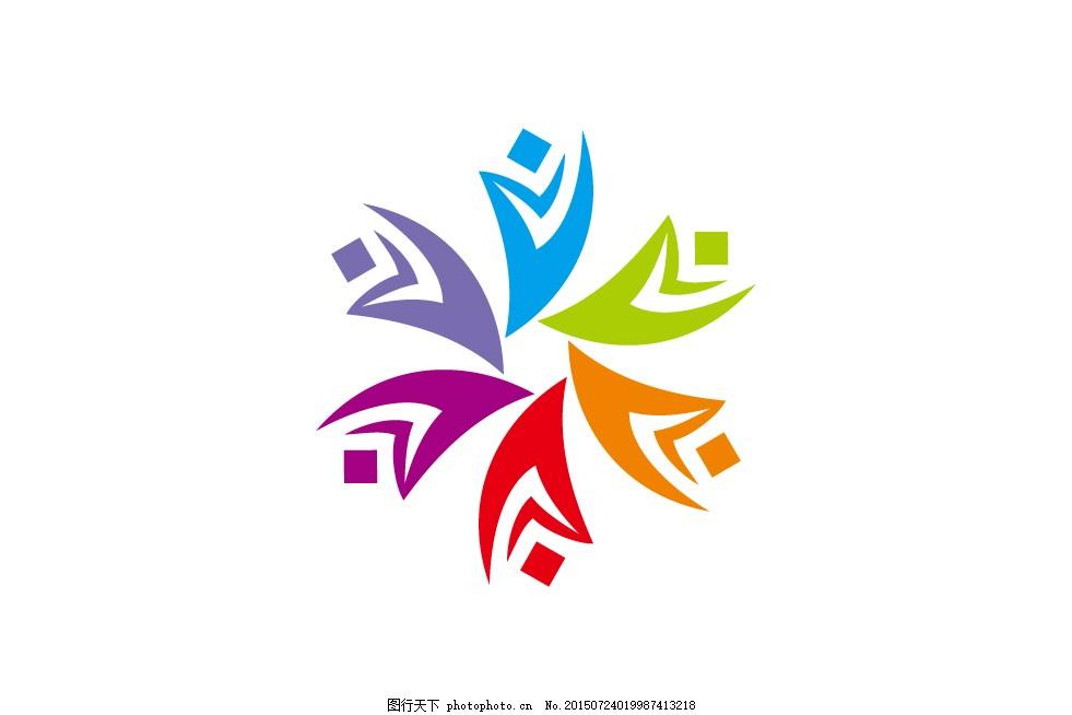 健身logo 矢量 曲线 线条 彩色 色块 图标 模板 白色图片