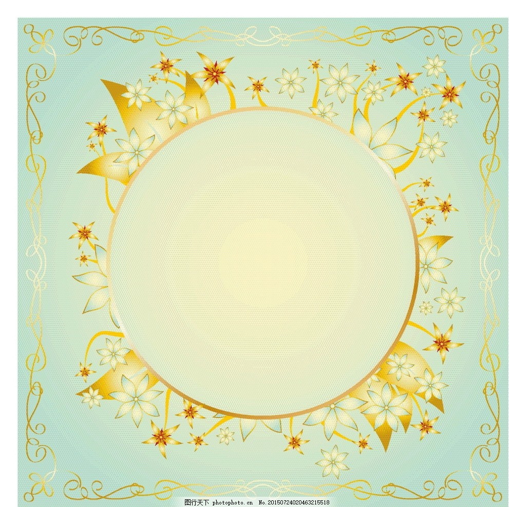梦幻古典边框背景 花纹 圆框 模版 欧美 欧式 古风 时尚 欧式古典