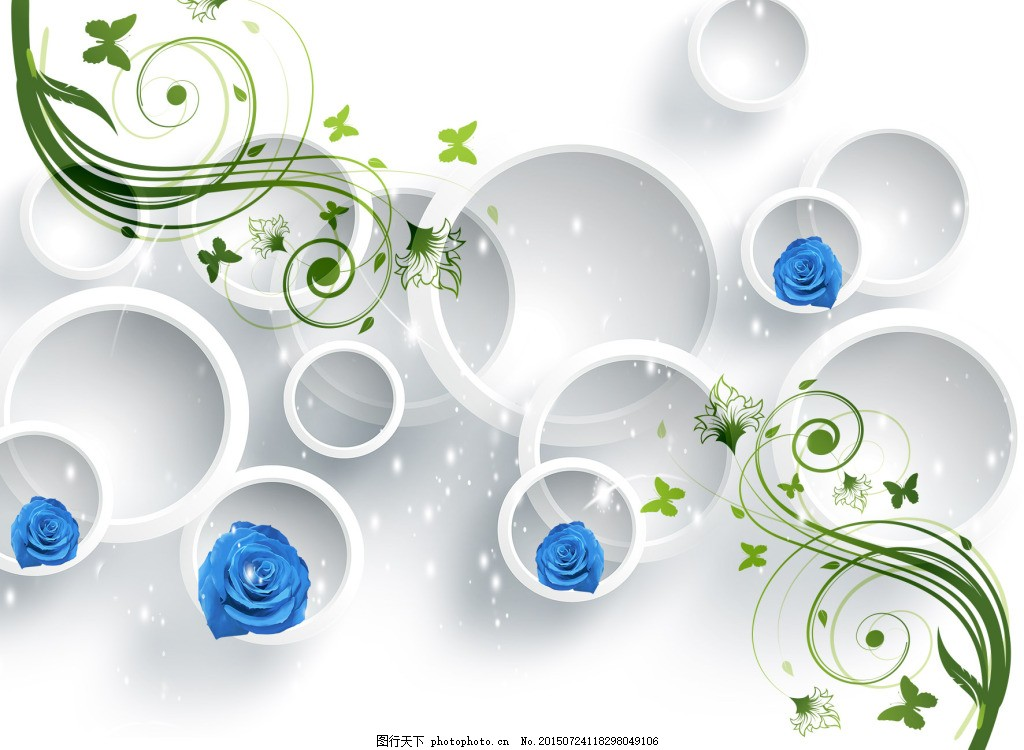 3d圆圈玫瑰电视背景 玫瑰 蓝玫瑰 圆圈 花藤 psd 白色