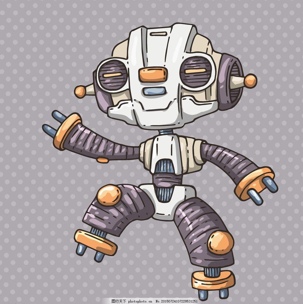 机器人 商务创意 现代科技 创意 创想 手绘 科技背景 卡通动漫 卡通