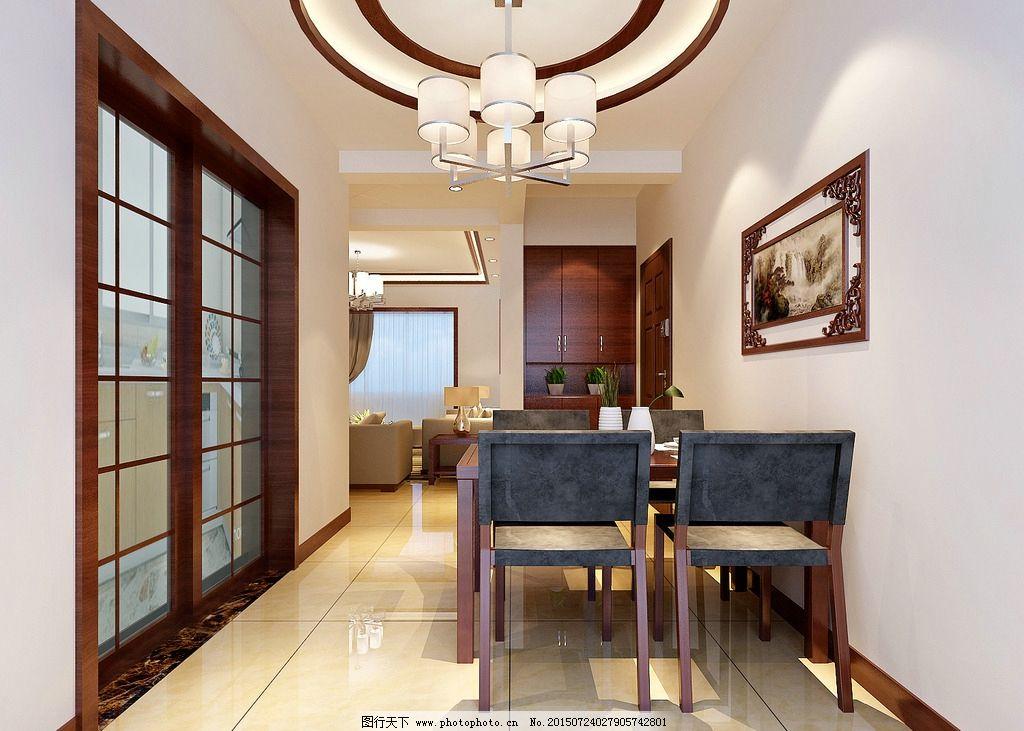 中式效果图        餐厅效果图 中式餐厅 中式餐厅效果 餐桌 食厅效果