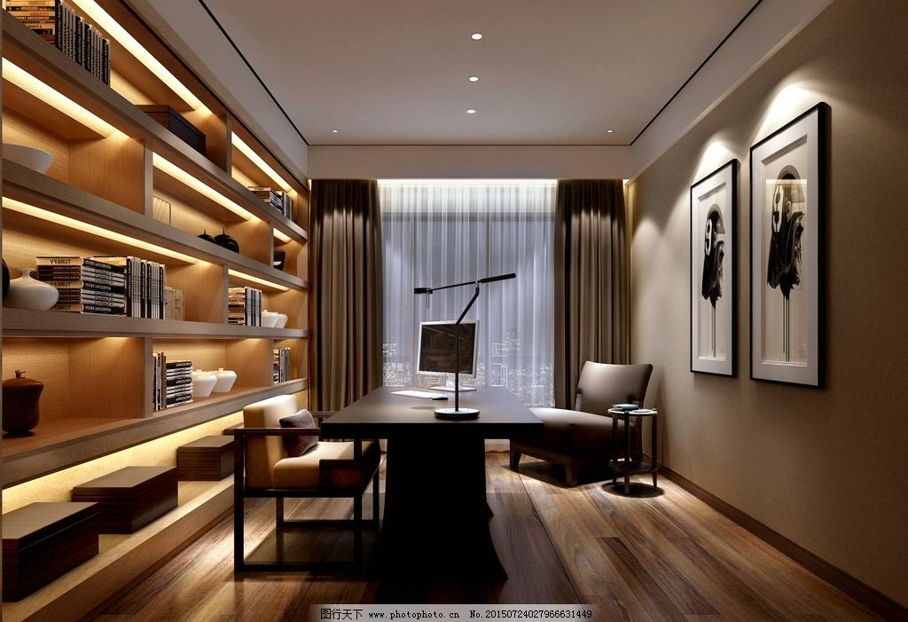 书房设计 书房 书柜设计 新中式书房 书房效果图 设计 环境设计 室内图片