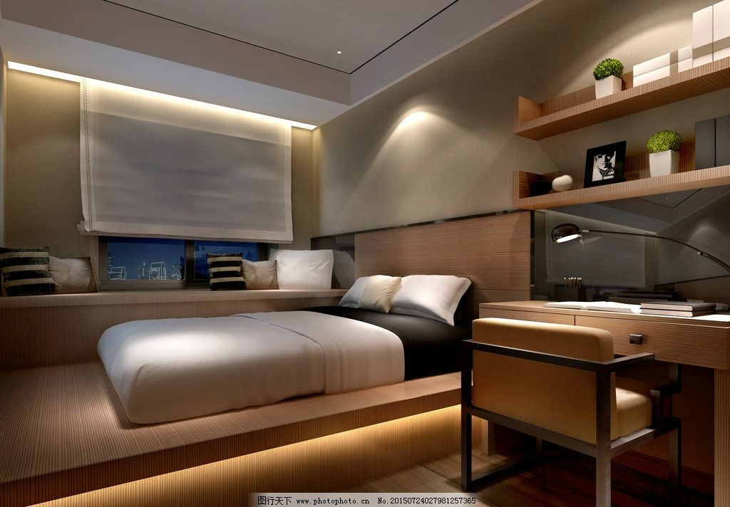 次卧室 小卧室 卧室设计 卧室效果图 设计 环境设计 室内设计 72dpi图片