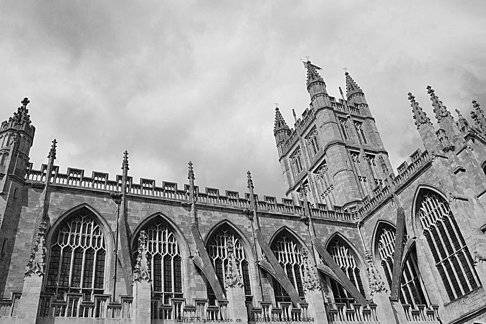 欧式城市风景 教堂风景 欧式建筑风景 风景摄影 黑白照片 黑白相片