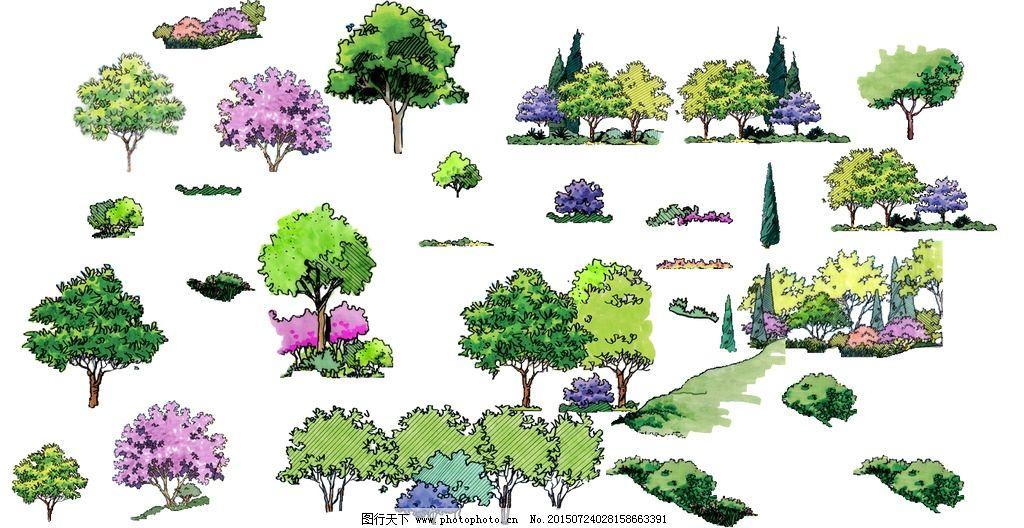 手绘 立面树 树 景观 花 设计 环境设计 景观设计 150dpi psd