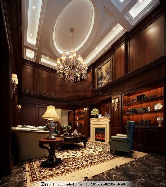欧式豪华别墅客厅 客厅装修 欧式豪华 3d模型 沙发茶几 炉灶 max 黑色