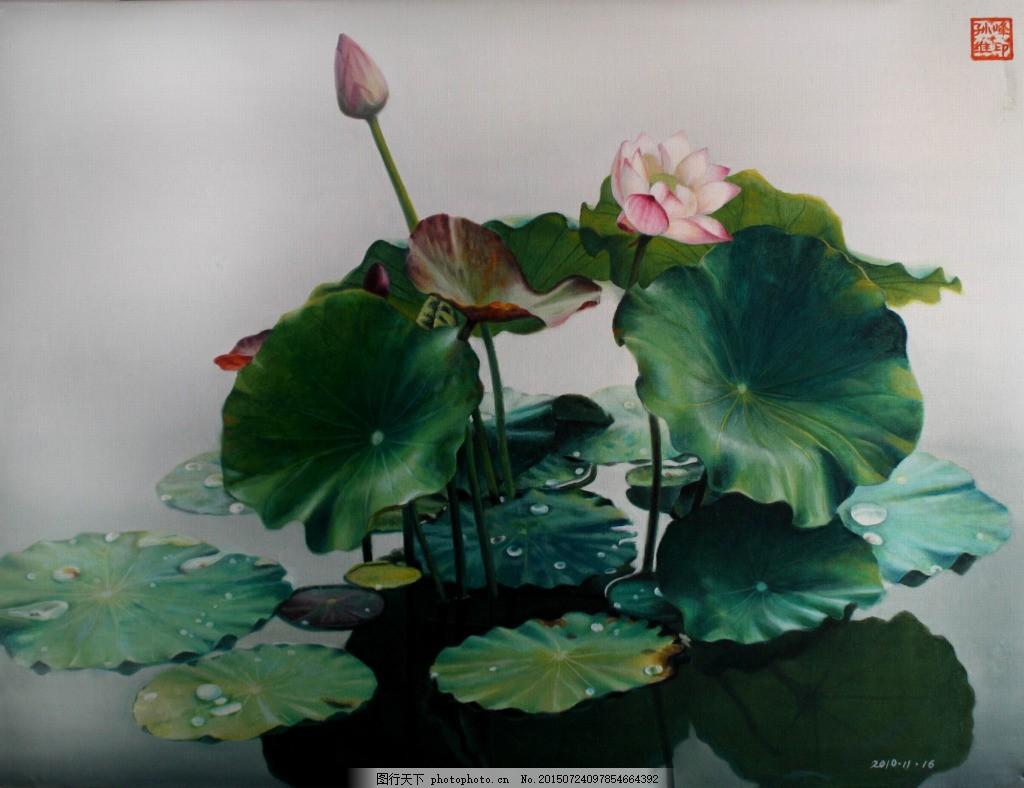 风景油画图 荷花 含苞待放 红花绿叶 背景图 海报背景 淘宝素材