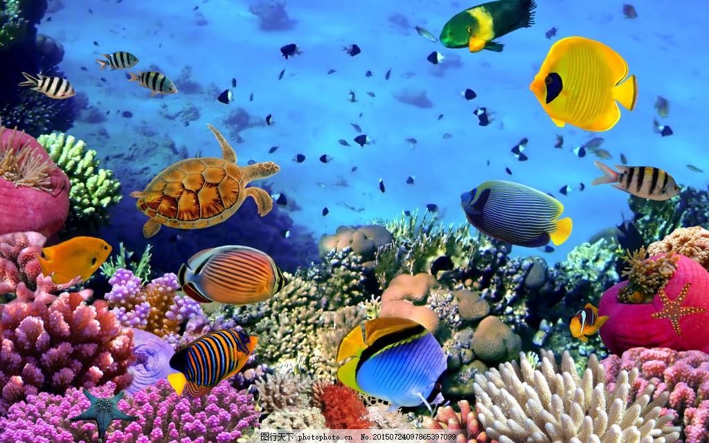 七彩的海底世界 背景 珊瑚 热带鱼 蓝色图片
