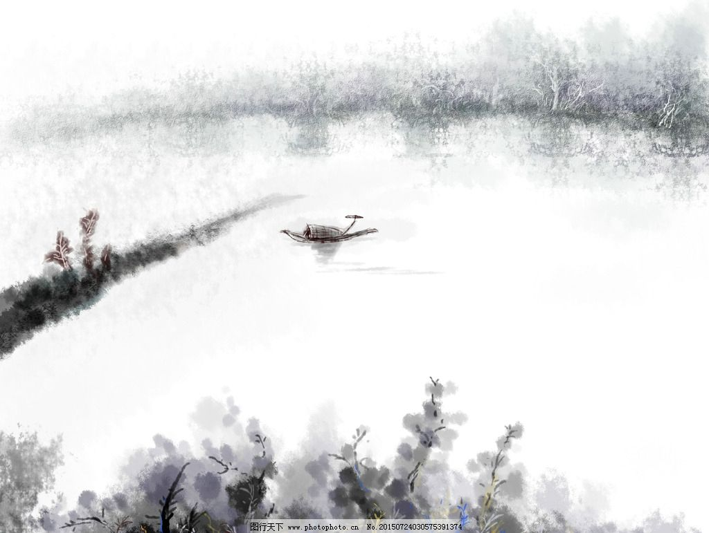 水墨画 黑白风景 水面 小船 水天一色 平静的水面 黑白树 电脑手绘