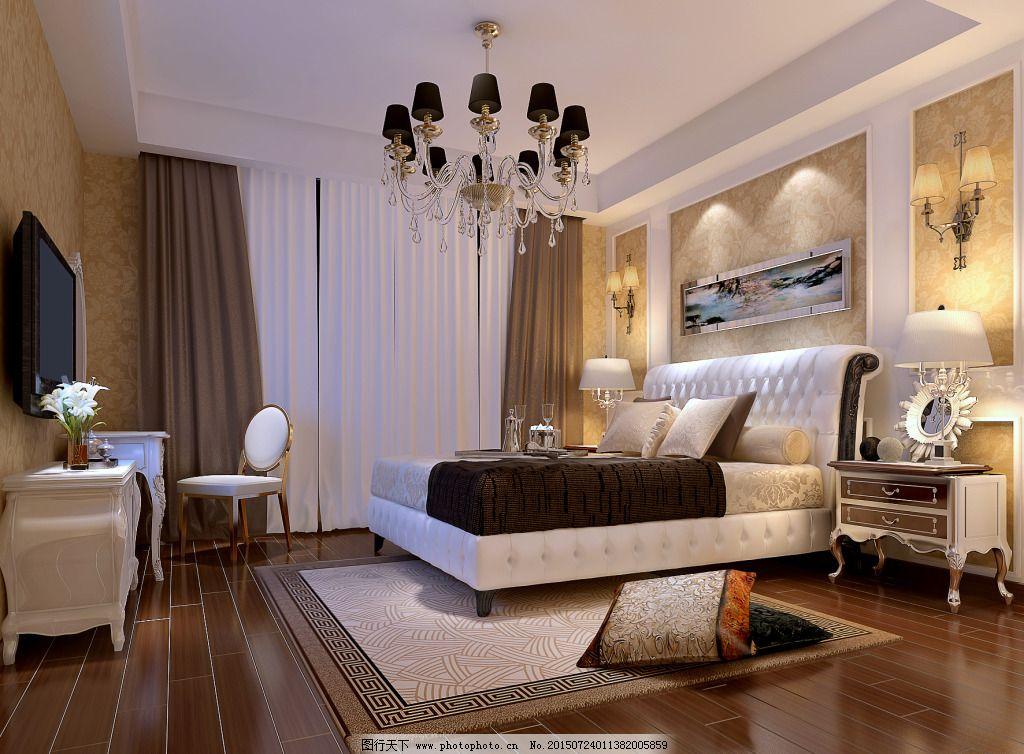 3d效果图 窗帘 地毯 电视 电视墙 吊顶设计 简欧风格 室内设计 卧室效