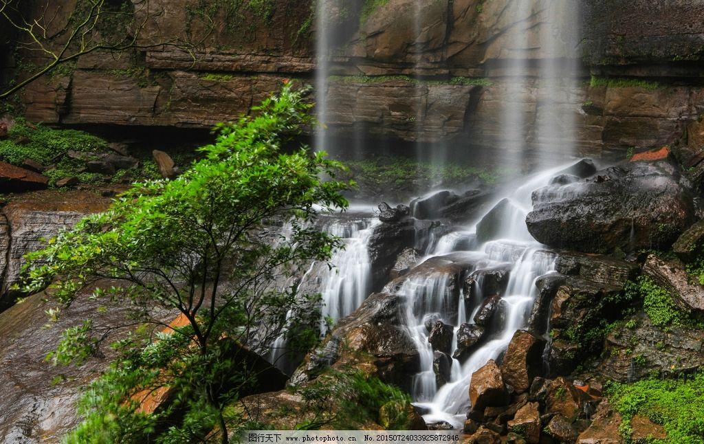 森林公园 风景区 高山流水 瀑布 翠竹繁茂 林木葱茏 植被密集 自然