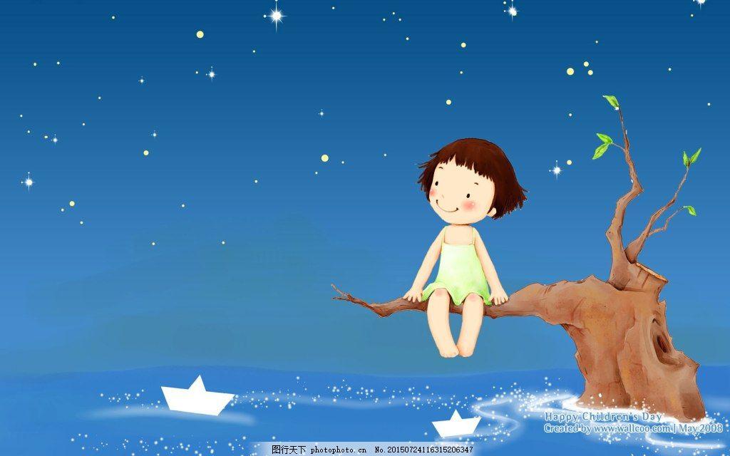 手绘插画壁纸梦幻可爱儿童夜空
