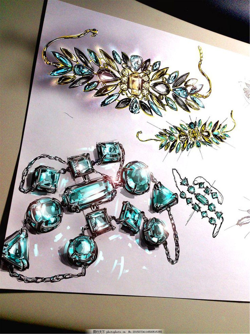 彩色项链图片设计 手绘 珠宝 项链 时尚 创意 潮流 新颖 美丽