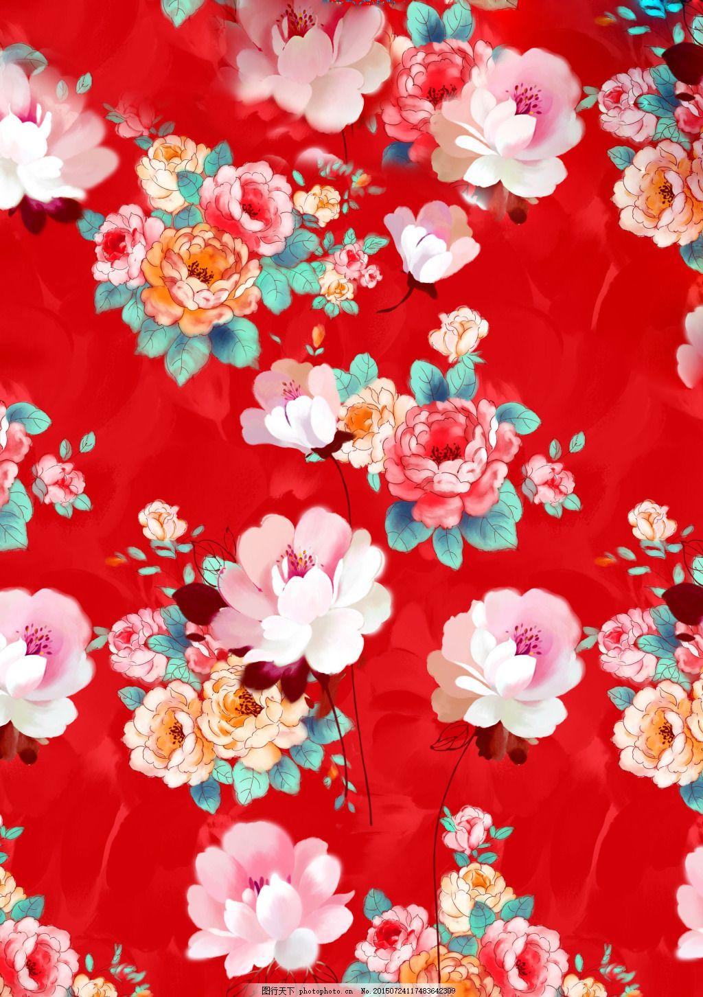 牡丹花手绘 装饰画 花卉背景 花卉 手绘花 水墨画 牡丹花     红色