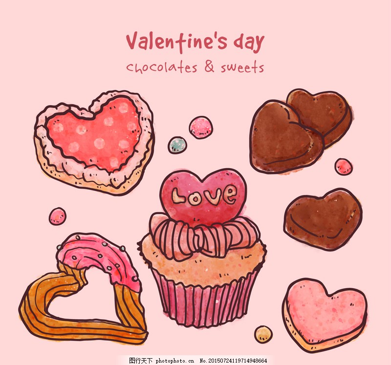 手绘蛋糕 美味 甜品 粉色