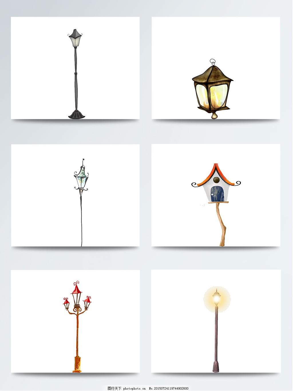 创意彩色手绘路灯 彩绘 复古 卡通 欧式 水彩