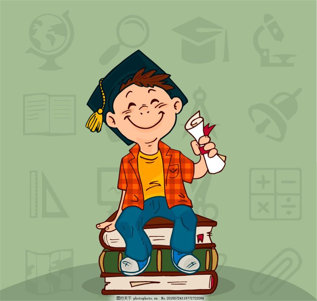 戴博士帽的男孩矢量素材 博士 帽子 男孩 卡通 可爱 彩色 ai 灰色 ai