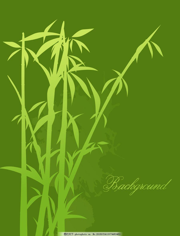 绿色竹子剪影