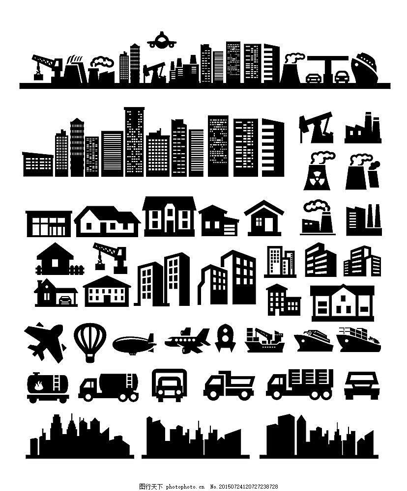 黑白城市设计简图图片